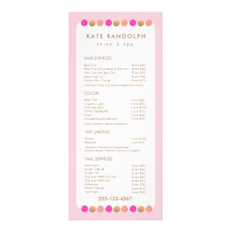Cute Pink Salon Price List Service Menu