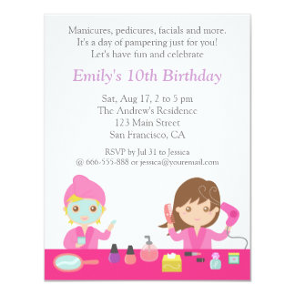 Cute Pink Spa Birthday Party Invitation Personalized Announcements