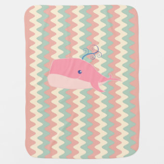 Cute Pink Whale Baby Blanket