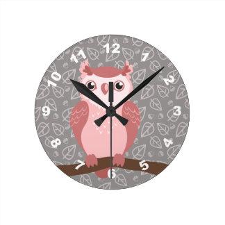 Cute PInk Woodland Owl Round Clock