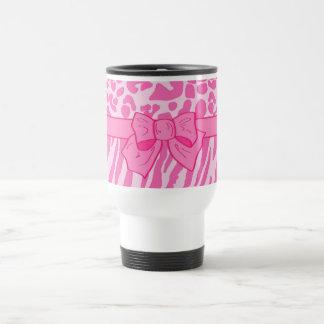 Cute Pink Zebra Leopard Animal Print and Girly Bow Mug