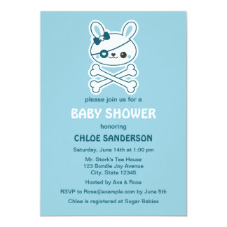 cute pirate bunny baby shower 13 cm x 18 cm invitation card