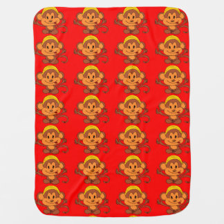 Cute Playful Monkey with Banana Swaddle Blankets