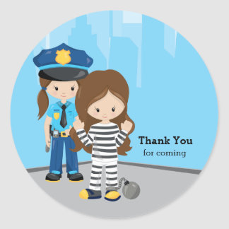 Cute Police Officer Classic Round Sticker