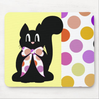 Cute Polka Dot Black Kitty Cat Mousepad