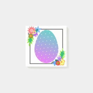 Cute polka dot egg with floral wreath post-it notes
