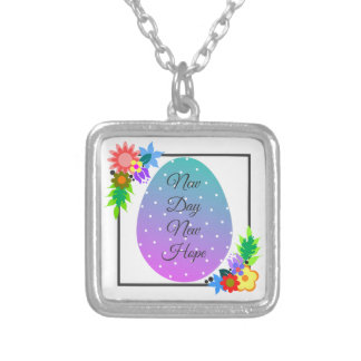 Cute polka dot egg with floral wreath silver plated necklace