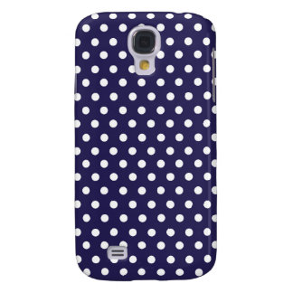 Cute Polka Dots   Navy Blue and White Galaxy S4 Case