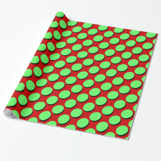 Cute Polka Dots, Shaowed Lime on Red, Gift Wrap