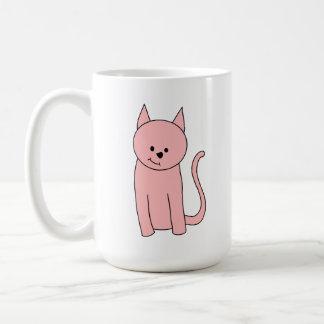 Cute Pretty Pink Cat Basic White Mug