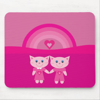 Cute & Pretty Pink Cats, Rainbow & Hearts Mousemat Mouse Pad