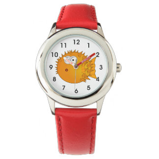 Cute Puffer Fish with Big Button Eyes Wrist Watches