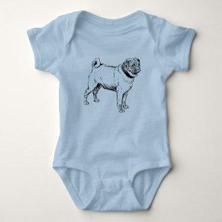 Cute Pug Elegant Dog Drawing Baby Bodysuit