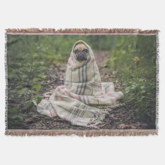 Cute Pug in a Blanket Throw Blanket