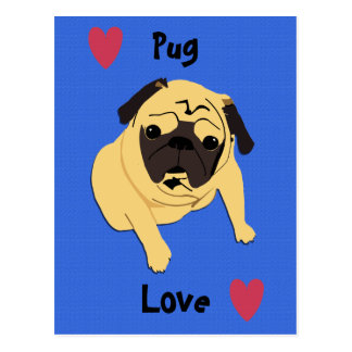 Cute Pug Love Dog Postcard
