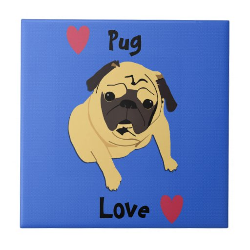 Cute Pug Love Dog Ceramic Tile