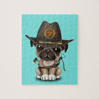 Cute Pug Puppy Zombie Hunter Jigsaw Puzzle