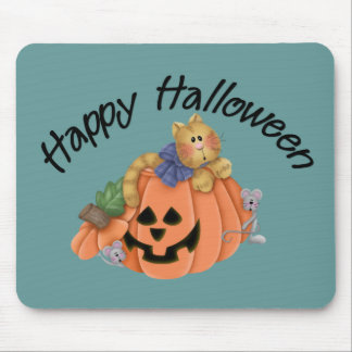 Cute Pumpkin Cat with Mice Happy Halloween D1 Mouse Pad