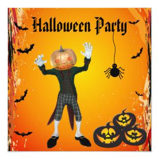 Cute Pumpkin Head Halloween Party 13 Cm X 13 Cm Square Invitation Card