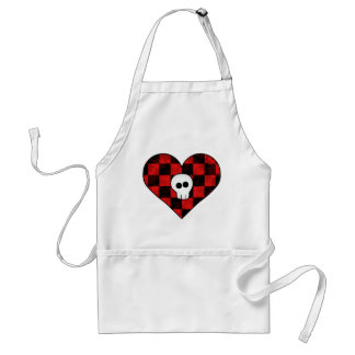 Cute punk goth skull in red checkered heart standard apron