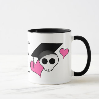 Cute punk skull graduation mug
