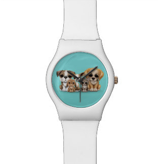 Cute Puppies, Kitten and Bunny Pet Portrait Blue Watch