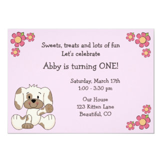 Cute Puppy 1st Birthday Invitation for Girls