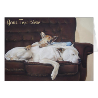 Cute puppy and white dog realist animal art note card