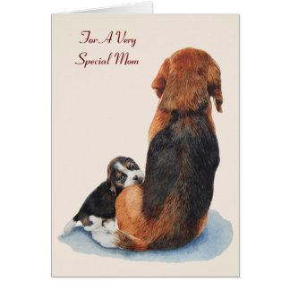 cute puppy beagle dog mom versed mother greeting card