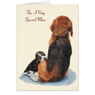 cute puppy beagle dog with mom dog versed card