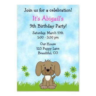 """Cute Puppy Dog Birthday Invitation for Girls 5"""" X 7"""" Invitation Card"""