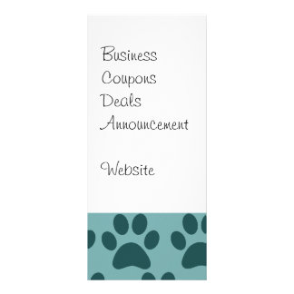 Cute Puppy Dog Paw Prints Blue Gray Dog Lovers Rack Card
