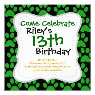 Cute Puppy Dog Paw Prints Green Black Custom Invitations