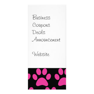 Cute Puppy Dog Paw Prints Hot Pink Black Personalised Rack Card