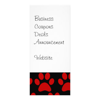 Cute Puppy Dog Paw Prints Red Black Personalized Rack Card