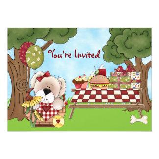 Cute Puppy Dog Picnic Birthday Invitation Girls