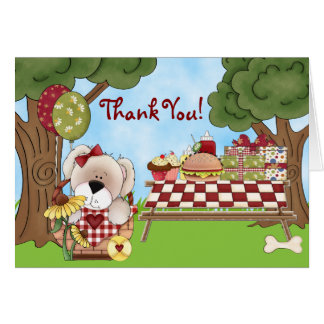 Cute Puppy Dog Picnic Party Thank You Card