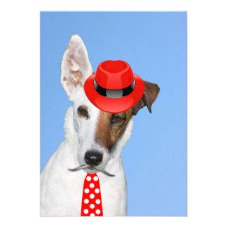 Cute puppy dog red fashion funy moustache tie hat custom invites