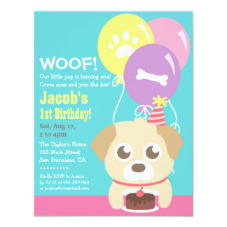 Cute Puppy Dog Themed Kids Birthday Party 4.25x5.5 Paper Invitation Card