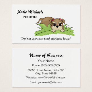 Cute Puppy Dog With Pink Bows Pet Sitting Services Business Card