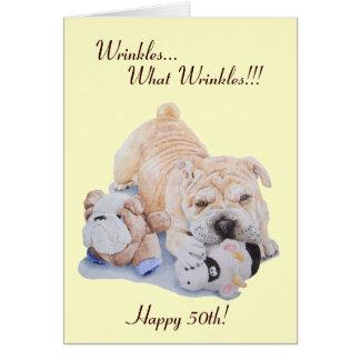 Cute puppy shar pei dog and teddy funny 50th greeting card