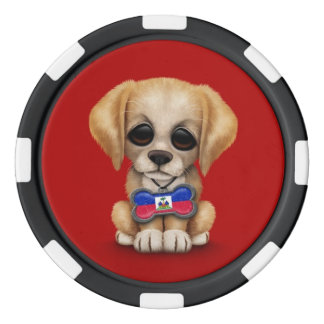 Cute Puppy with Haitian Flag Dog Tag, red Poker Chips
