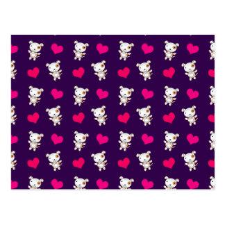 Cute purple dog hearts pattern postcard