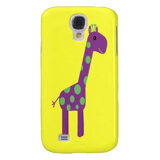Cute Purple & Green Giraffe Customizable Yellow Samsung Galaxy S4 Covers