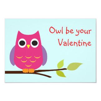 Cute purple owl classroom valentine exchange kids 9 cm x 13 cm invitation card