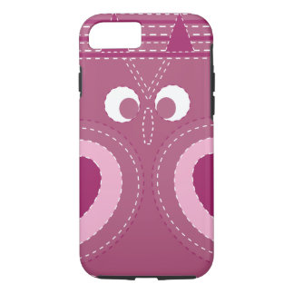 Cute Purple Pink Owl Stitched Look iPhone 7 Case