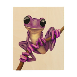 Cute Purple Tree Frog on a Branch on White Wood Print