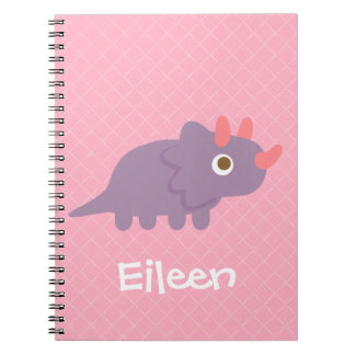 Cute Purple triceratops Dino Pink Notebook