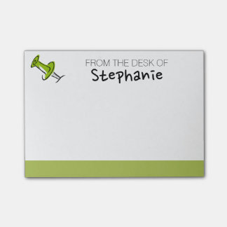 Cute Push Pin From the Desk Of Custom Name Post-it Notes