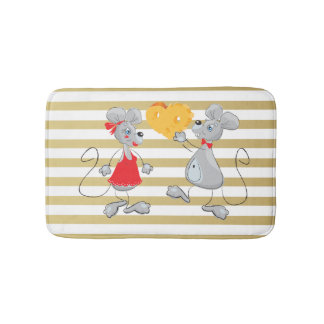 Cute Quirky Whimsical  Mouses-Stripes Bath Mats
